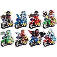 互換未来騎士団オートバイシリーズ組み立てられたビルディングブロック 8体 + バイク 8台 セット ミニフィギュア 互換 8体バイクセット