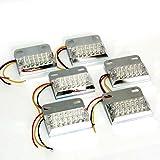 夜間走行 に輝きを放つ 発光 パターン 3種類 角型 12 LED サイド マーカー ランプ ( ホワイト ) 6個セット