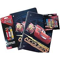 Cars Lightning McQueenスパイラルスクールノートブック、Disney Pixar Cars鉛筆、24パックCarsクレヨン