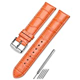CHIMAERA16mm時計バンド 交換ベルト 本革 腕時計 ストラップ尾錠 スチールスプリングバーバック いろいろな色選択ことができます(22 色) (オレンジ)