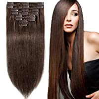 13 inch 80g Clip in Remy Human Hair Extensions Full Head 8 Pieces Set Short length Straight Very Soft Style Real Silky for Beauty #4 Medium Brown [並行輸入品]
