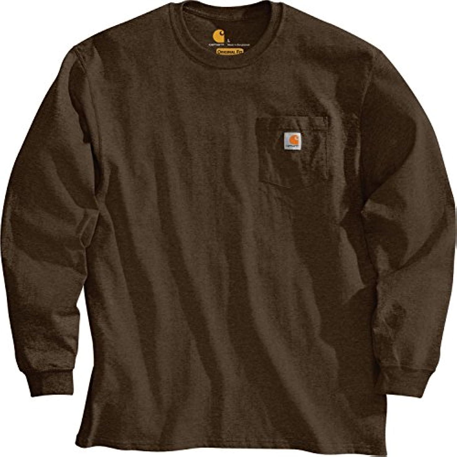 マイクロプロセッサ荷物ギャラリーカーハート トップス シャツ Carhartt Men's Workwear Long Sleeve Shir DarkBrown [並行輸入品]