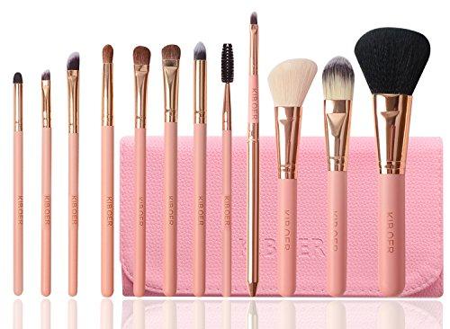 Kiboer メイクブラシ 12本セット メイクブラシセット 化粧筆 人気 馬毛をふんだんに使用 高品質PUレザー化粧ポーチ付き( ピンク)