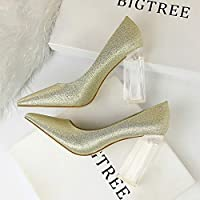 LUKEEXIN Ms. High-Heeled Surname High Transparent Crystal with Single Shoes was Thin Satin Thick Heels