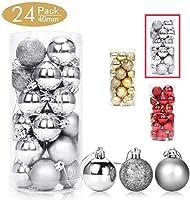 24パッククリスマスツリーオーナメントセット1.57インチクリスマス飛散防止ミニホリデーオーナメントボールクリスマスデコレーション用ボール(シルバー)
