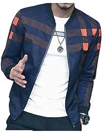 Fly Year-JP メンズファッション春の長袖チェック柄ジッパーサイズ薄ジャケットについて
