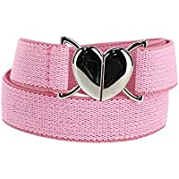 Aquarius Girl's Elastic Belt with Heart Shaped Closure, Pink