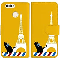 sslink nova 2 HWV31 HUAWEI 手帳型 イエロー ケース 猫 エッフェル塔(ホワイト) パリ フランス ダイアリータイプ 横開き カード収納 フリップ カバー