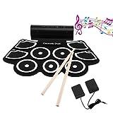 電子ドラム ICOCO シリコン電子ドラム 9パッド 録音/デモ機能搭載 打楽器 ペダル付き 音楽ゲーム どこでもドラム MIDI機能 音楽ゲームにお勧め パソコンと接続