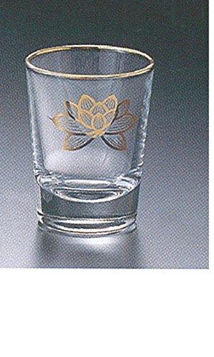 [해외]열대산 목재 및 브랜드 御神具 유리 컵 上金 연꽃 소/Karaki and brand musical instrument glass cup top gold Has small
