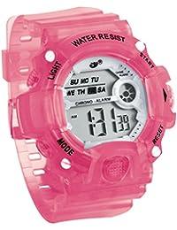 JewelryWe スポーツウオッチ 子供腕時計 ウオッチ シンプル 可愛い 全六色 多機能 12/24H 多機能 日付・曜日 アラーム ピンク