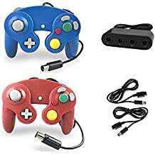 Crifeir 2 Pack Wired Controller for Gamecube NGC Wii Video Game,with 2 Cable and Converter(Blue and Red)