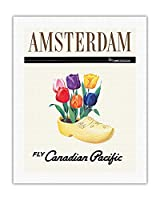 オランダ、アムステルダム - オランダのチューリップと木靴 - カナディアンパシフィック航空で飛ぶ - ビンテージな航空会社のポスター - キャンバスアート - 51cm x 66cm キャンバスアート(ロール)