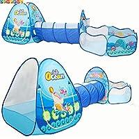 ABSTEPS おもちゃテント - オーシャンセンス 3ピース 子供遊びテント クロール トンネルボール プール キッズ おもちゃ テント ベビー 屋内 屋外 テントハウス用 大型 子供用 Multicolor TINIB9F1F290
