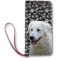 Kuvasz Dog Phone Case クーバース 犬顔 レディース おしゃれ かわいい 長 財布 ウォレット 札入れ 大容量 二つ折り 腕帯付き ファスナー 革 8枚カード 収納 犬愛好家 プレゼント [並行輸入品]