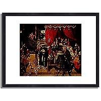 Wertinger, Hans,1465/70-1533「Der Arzt Philippus am Krankenbett Alexanders des Grosen.1517.」インテリア アート 絵画 プリント 額装作品 フレーム:木製(黒) サイズ:S (221mm X 272mm)