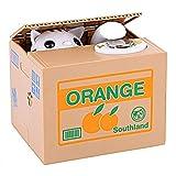 自動化されたイタツラ猫は、バンク可愛い電動貯金箱 お金のボックスキッズおもちゃを保存コインピギーバンク盗む (白猫)
