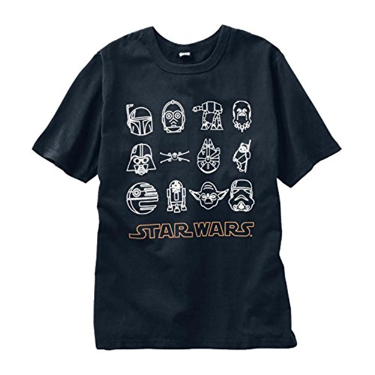 ゲインセイ円周月曜日STAR WARS スター?ウォーズ  メンズ半袖Tシャツ アイコン(ブラック)