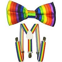 Kids Suspenders And Bow Tie Set Adjustable Suspender Bowtie Necktie Sets Boys And Girls (Rainbow)