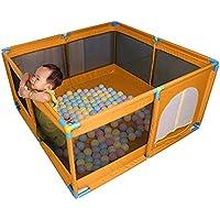 マットレスパッドとボール、オックスフォードクロスフェンス付きの幼児用プレイペン8パネルキッズアクティビティセンター、男の子用女の子屋外屋内、オレンジ