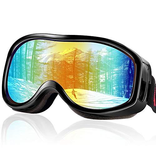 FYLINA スキーゴーグル スノーゴーグル スノーボードゴーグル UV400 紫外線カット メガネ対応 ヘルメット対応 防塵 防風 防雪 防反射 軽量 耐衝撃 登山 スキー バイク 全面適用 男女兼用 保護袋付き