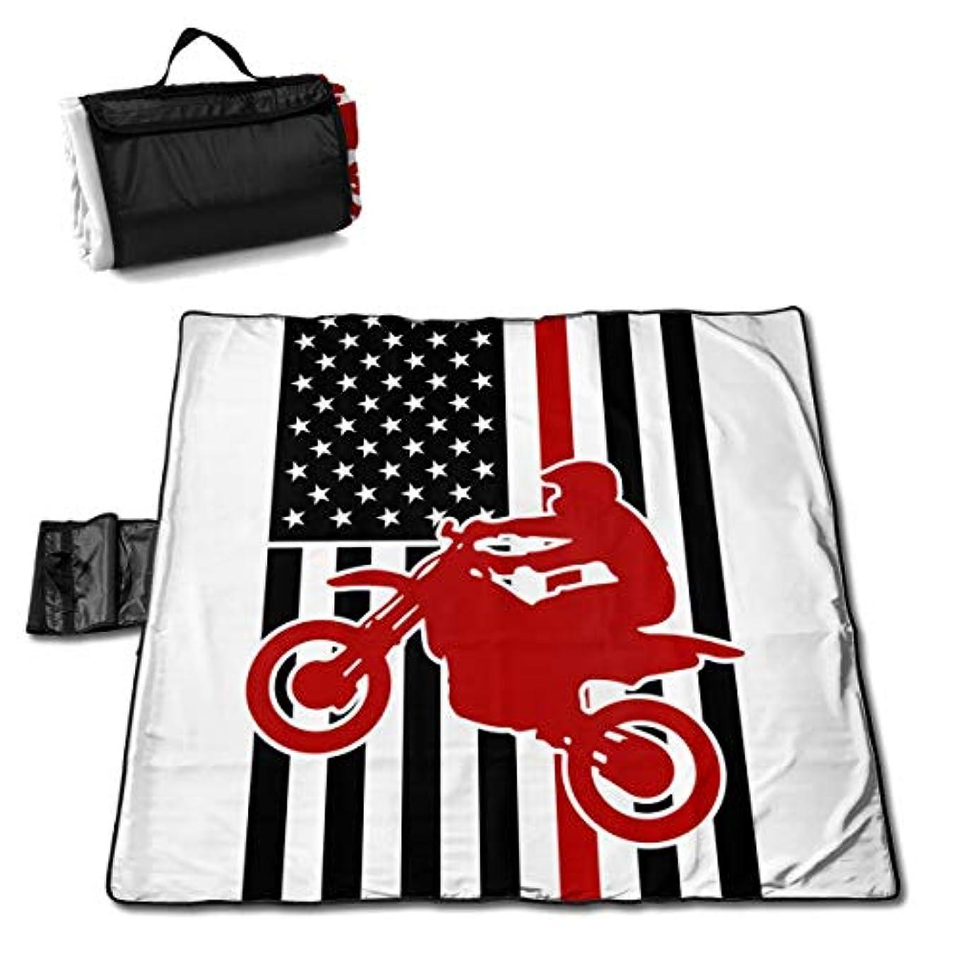 才能のある熟考する優れましたアメリカ国旗ダートバイク ピクニックマット レジャーシート ファミリー レジャーマット 防水 防潮 マット 折り畳み 持ち運び便利 四季適用び おしゃれ花火大会 運動会 遠足 キャンプ 145×150cm