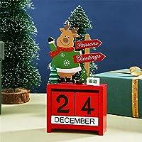 クリスマスカウントダウンカレンダー木のブロッククリスマスカウントダウン卓上カレンダートナカイ雪だるまサンタクロース手作りホームオフィスデコレーション,Reindeer