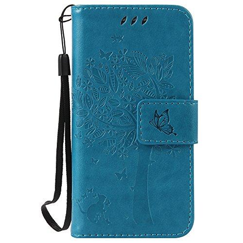 C-Super Mall-JP Samsung Galaxy S4 Mini i9190 ケース: エンボスツリー猫バタフライパターンPUレザー財布スタンドフリップケース(ブルー)
