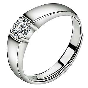 Meixao ジュエリー メンズリング キラキラ スターリング シルバー ジルコニア 純銀指輪 婚約指輪 フリーサイズ 調整可 (個別販売可) (ホワイト)