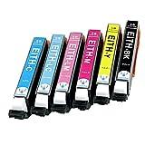 【Angelshop】ITH-6CL (BK/C/M/Y/LC/LM) 6色セット EPSON(エプソン) 互換インクカートリッジ 【イチョウ】 残量表示機能付 ICチップあり【安心の1年保証】