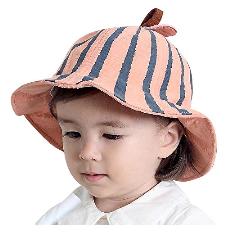 WARMSHOP かわいい赤ちゃん用バケツ帽子 男の子 女の子 キッズ ストライプ リバーシブル 日焼け防止キャップ あご紐 18 Months-4 Years Old ブラウン