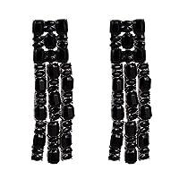 HuaQingPiJu-JP ファッションスタッドイヤリング女性のアクリルイヤリングAccessroies(ブラック)