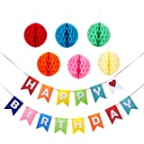 Birthday Party Decorations - Happy Birthday Banner Flags with 6-Piece Honeycomb Balls Tissue Paper Pom Pom Decorations