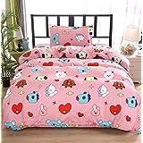 ACEFAST INC 3 Piece BTS Love Yourself Queen Bed Duvet Cover Sheets Set Cotton Flat Sheet Quilt Cover Jimin Suga Junkook V Rap J-Hope Jin Cartoon Style