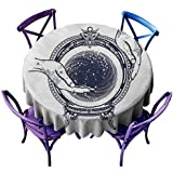 円形テーブルクロス ジプシー フォーチュン テラー タトゥーアートデザイン 未来を予測 テーマ ミステリー マジック ダークブルーとホワイト ピクニック D55