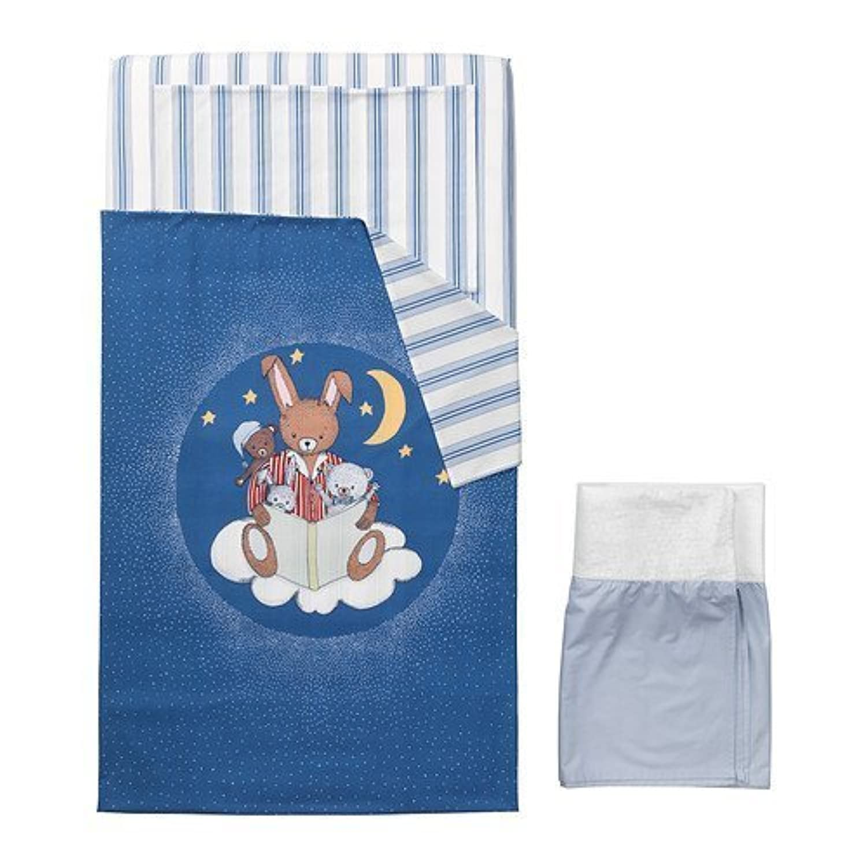 (4) Piece Baby's Crib Linen Gift Set ~ (1) Medium Blue Duvet with the Moon, Stars, Bear & Bunnies, (1 Ea) Blue Striped Sheet & Matching Pillowcase & (1) Pale Blue Crib Skirt by IKEA