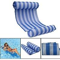 OUTERDO ウォーターハンモック 浮き輪 インフレータブル浮動ベッド プールフロート 水遊び 浮き袋 ポータブルなプールマット 水泳用品 エアーポンプ付き 130 * 66 cm