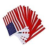 【ノーブランド品】12個手回し旗 アメリカ手回し旗 国旗 プラスチック棒の手ウェーブ旗ミニ旗