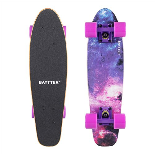 BAYTTER スケボー コンプリート ミニクルーザー 22インチ スケートボード ABEC7ベアリング採用 メンテナンスレンチとスケボー用バッグ付 全5色