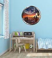 """36""""舷窓インスタントSpace Ship Window View Alien Planet # 3シルバー壁グラフィックキッズ部屋デカールステッカー壁画ホームアート飾りLarge"""