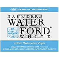 ホルベイン ウォーターフォード水彩紙 ブロック 中紙300g(中厚口) 細目 ホワイト 12枚とじ 270-963 EHBH-F4