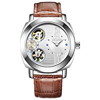 HWCOO 美しい SKONE 腕時計 SKONE自動機械式時計メンズ防水レザーストラップレジャーウォッチ (Color : 3)