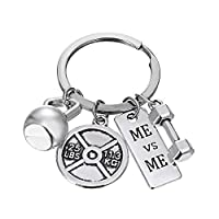 Rinhoo Unisex Stainless Steel Fitness Weightlifting Gym Keychain with Quotes Workout Weight Plate Barbell Dumbbell Exercise Charms Keyring White Gold Plated/Gold Plated (ME vs ME) [並行輸入品]