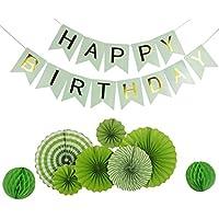 Funpa ガーランド 紙扇子 紙ポンポン 22点セット 誕生日 お祝い デコレーション アクセサリー 掛け飾り 赤ちゃん ベビー 緑 紙
