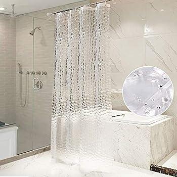 OTraki シャワーカーテン 透明 120 x 180cm 防水 浴室カーテン 北欧 アイデアグッズ リング付属 取付簡単 風呂カーテン 間仕切り クリア 3D 1.2メートル 目隠し 清潔感 ユニットバス プライバシー保護