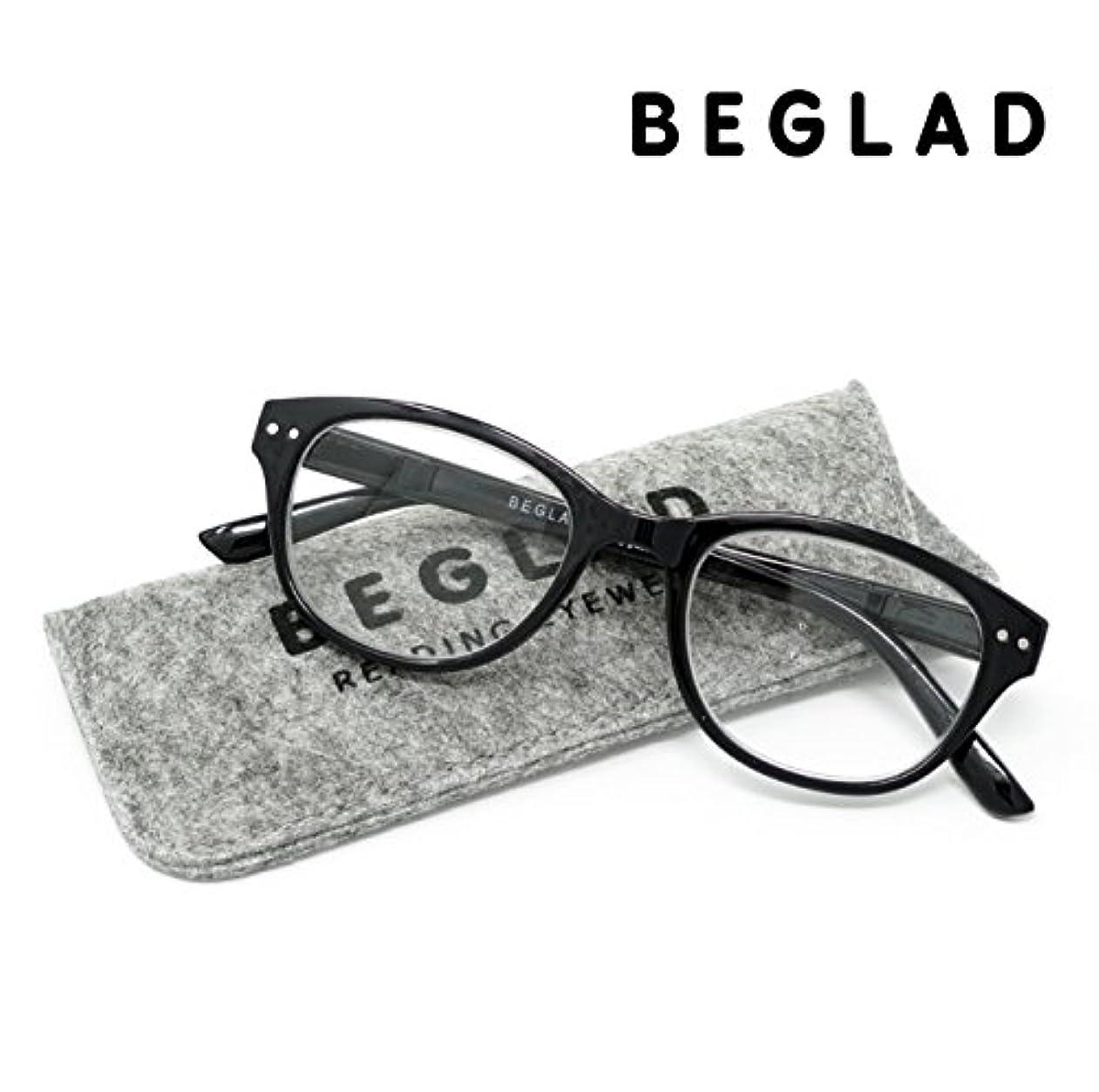 サスペンド取る活性化するビグラッド(BEGLAD) 老眼鏡 ブラック 度数:+2.00 【トレンドデザイン おしゃれなケース付】 BT2014BK