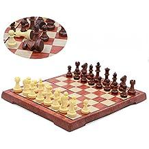 T Tocas旅行磁気チェスゲームは、折りたたみ式のチェス盤、ブラウン、スモール