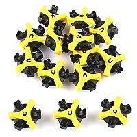 Easy Raku®ゴルフクリートチャンプ ゴルフ ソフトスパイク鋲 スパイク・ スティンガー シューズ 交換用スパイク鋲 (ブラック+黄色)