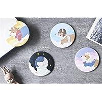 HuaQingPiJu-JP ミニラウンド漫画の赤ちゃんパターン小さなガラスミラーサークル工芸装飾化粧品アクセサリー