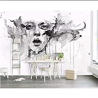 Wuyyii カスタムフォト用紙3 D壁画手描きの北欧クリエイティブ落書き性格美しいテレビルームの壁紙の背景 - 150×120 Cm